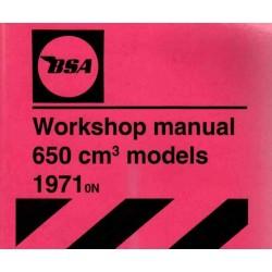 Workshop Manual BSA 650 cc OIF models 1971 on.
