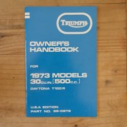 Drivers handbook TRIUMPH T 100 R Daytona 1973 US