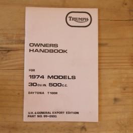 Fahrerhandbuch TRIUMPH T 100 R Daytona 1974 GB
