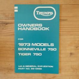 Fahrerhandbuch TRIUMPH Bonneville 750 und Tiger 750 1973 UK