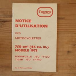 Notice d'Utilisation TRIUMPH Bonneville 750 T 140 V y Tiger 750 TR 7 RV 1973