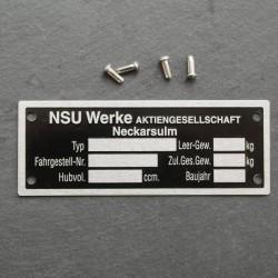 Conjunto placa identificacion NSU Max