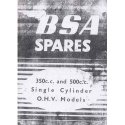 Spares catalogue BSA B models 350 cc and 500 cc 1949 - 1952