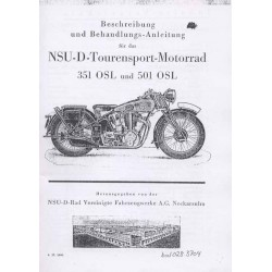 Riders Handbook NSU 351 OSL and 501 OSL