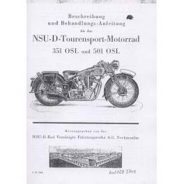 Riders Handbook NSU 351 OSL and 501 OSL