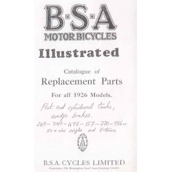 Spares catalogue BSA for all 1926 Models