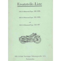 Spares catalogue NSU 201 OSL, 251 OSL and 351 OT