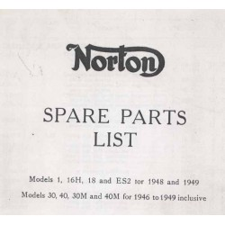 NORTON Spares catalogue singles 1946 - 1949