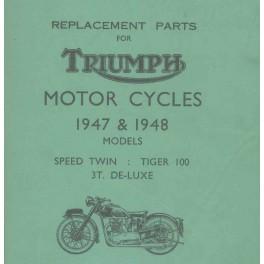ET Katalog TRIUMPH Modelle 1947 und 1948