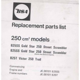 Spares catalogue BSA 250 cc models from 1971