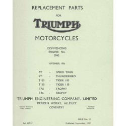 Spares catalogue TRIUMPH twins 500 cc and 650 cc from 1957