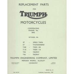 ET Katalog TRIUMPH Modelle twin 500 cc und 650 cc von 1957