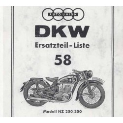 Spares catalogue DKW No. 58 NZ 250 and NZ 350