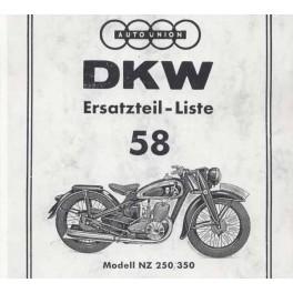 Ersatzteilliste DKW Nr. 58 NZ 250 und NZ 350