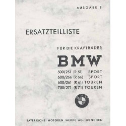 Spares catalogue BMW R 51, R 66, R 61 and R 71 prewar