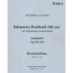 Spares catalogue Zuendapp KS 750 military with sidecar