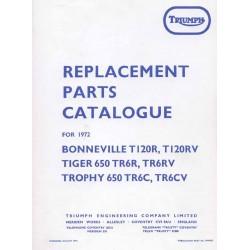 Catalogo de recambio TRIUMPH modelos 650 cc del 1972