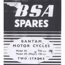 Spares catalogue BSA BANTAM two stroke models D 1 (125) cc and D