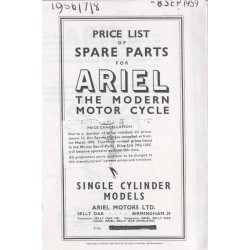 Spares catalogue ARIEL single cilinder models 1956 - 58