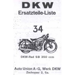 Spares catalogue DKW No. 34 SB 350
