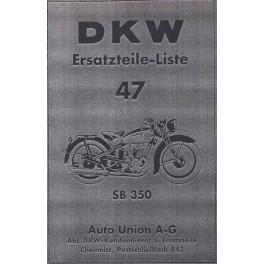 Ersatzteilliste DKW Nr. 47 SB 350