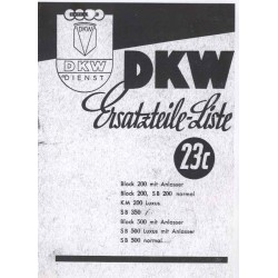 Spares catalogue DKW No. 23 c electrical equipment prewar models