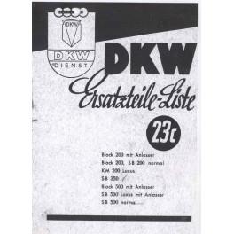 Ersatzteilliste DKW Nr. 23 c elektrisches System Vorkriegsmodell