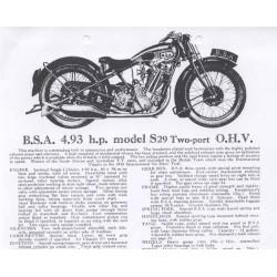 BSA Sales Brochure 1929