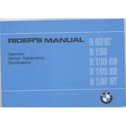 Rider's manual BMW R 80 and R 100 models