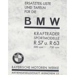 Spares catalogue BMW R 57 and R 63 prewar