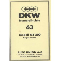 Spares catalogue DKW No. 63 NZ 500