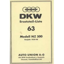 Ersatzteilliste DKW Nr. 63 NZ 500