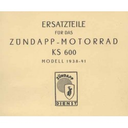 Spares catalogue Zündapp KS 600 1938 - 1941