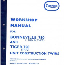 Workshop Manual BONNEVILLE 750 and TIGER 750
